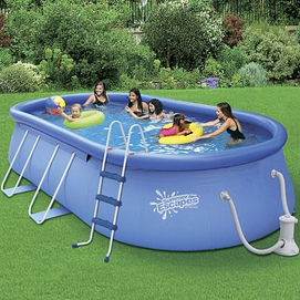 39 summer escapes 39 quick set 15 39 x 9 39 oval pool set sears for Quick up pool oval