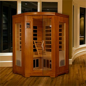 Dynamic Saunas 2- to 3-person Corner Infrared Carbon Sauna