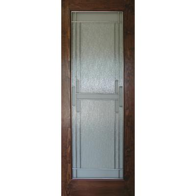 Milette 32x80 Madison Door With Stainless Grill Waterfalls And Satin White Glass In Clear Pine