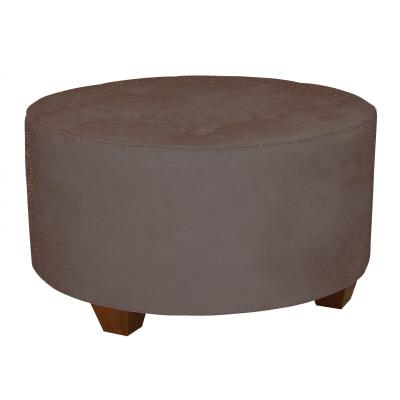 furniture round cocktail ottoman premier microsuede chocolate