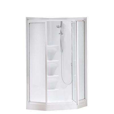 Keystone By MAAX Boreal Ii 1 Piece White Acrylic Neo Angle Corner Shower Ho