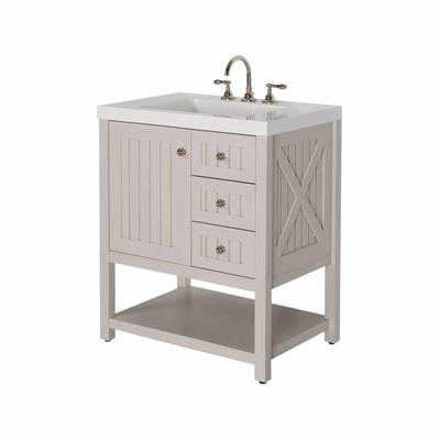 Martha Stewart Living Seal Harbor 30 Inch Vanity In Sharkey Gray With Vanity Top In Alpine White