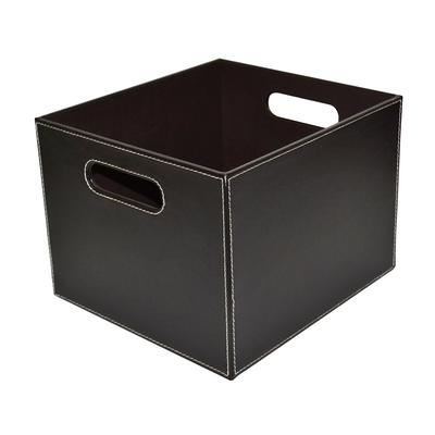 perfect home essentials brown pu storage cube with tc lining cut out handles 11 inches home. Black Bedroom Furniture Sets. Home Design Ideas