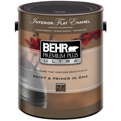 Behr behr premium plus ultra interior flat enamel paint primer in one medium base l Home depot interior paint prices