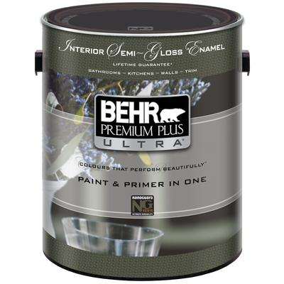 behr behr premium plus ultra interior semi gloss enamel paint primer in one deep base. Black Bedroom Furniture Sets. Home Design Ideas