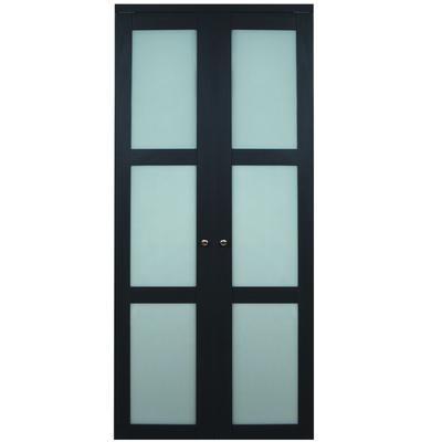 Truporte doors 3100 series 36 in x 80 in 3 lite frosted glass espresso bi fold door home for Frosted interior doors home depot