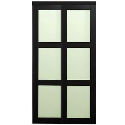 Truporte doors 2290 series 48 in x 80 in 3 lite frosted glass espresso sliding door home - Home depot canada sliding closet doors ...