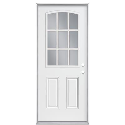 Masonite 32 In X 4 9 16 In 9 Lite Camber Top External Grille Low E Left Hand Steel Door