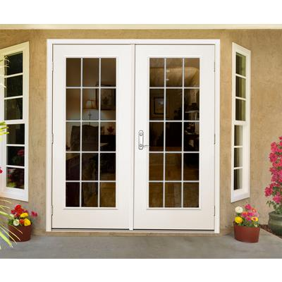 Jeld wen windows doors french outswing 5 inch 15 lite for French patio doors outswing home depot