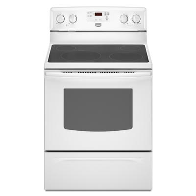 maytag 30 inch self cleaning freestanding smooth top electric range ymer7651ww home depot. Black Bedroom Furniture Sets. Home Design Ideas