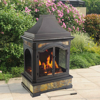 Sunjoy monroe outdoor wood burning fireplace costco ottawa for Foyer exterieur costco